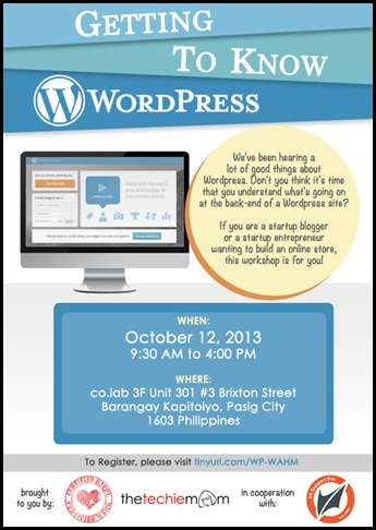 Learning wordpress, work at home moms, workshop, giveaways